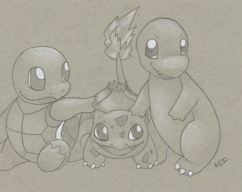 Color Accented Character Sketch of the Kanto Starters