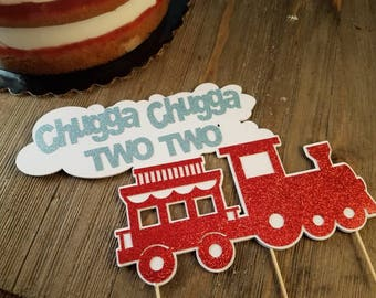 chugga chuugga two two, train birthday party decorations, train cake topper, first birthday boy, boys 2nd birthday,