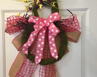 Moss Covered Bunny shaped Wreath