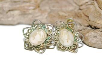 Vintage Cameo Earrings, Retro Cameo Jewelry, Screw Back Earrings, Authentic Verdigris Earrings, Victorian Earrings, Antique Earrings