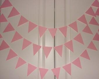 Pink Flag Garland, Flag Garland,  Wedding Party Decoration, Bridal Shower, Baby Shower, Birthday, Pink Party Decoration