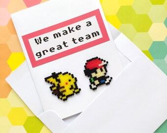 3D Geeky Greeting Card | Handmade Cute Card / Geeky Greeting Card / Mini Hama, Perler Beads