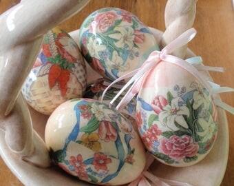 Handmade Ceramic Easter Basket with Decoupage Egg Ornaments