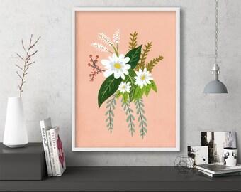 "floral art prints, flower wall art, folk art, instant download printable art, large art, large wall art, prints - ""Folk Art Flowers No. 1"""
