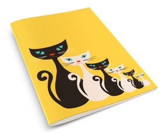 Atomic Kitty Yellow A5 notebook Mid Century Cat Retro