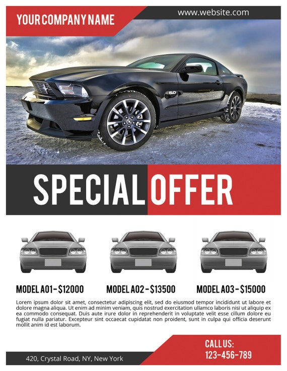 Car Sale Flyer PSD Template, Commercial Flyer Template, Corporate Flyer,  Instant Download