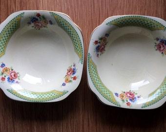 Set of 2 Vintage A J Wilkinson Honeyglaze Dessert Bowls Art Deco and Dresden Flowers Design. Square Cereal Bowls. Soup Bowls. VCH0078