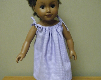 """Lilac Sundress, Shoulder Tie Gathered Sundress and Headband., 18"""" Doll, My Life As, American Girl, 18 inch Doll Clothes, Handmade with Love"""