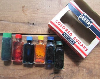 Baker's Extract Bottles Vintage Colored Sugars Retro Kitchen Decor