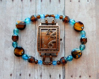 Tropical Blue Czech Fire Polished Crystal &PicassoBeads Ambers with Brown MarbleGlass Interchangeable WatchBand w Copper RhinestoneWatchFace