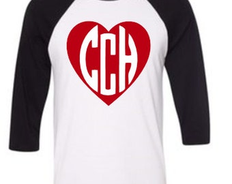 Monogram Heart Baseball T-Shirt, Monogram Baseball Shirt