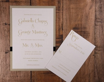 Mr. And Mrs. Wedding Invitations, Gold And Black Wedding Invitation, Modern Gold Wedding Invitation, Dinner And Dancing Wedding Invitation