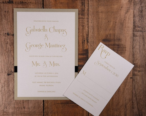 Mr And Mrs Wedding Invitation Wording: Mr. And Mrs. Wedding Invitations Gold And Black Wedding