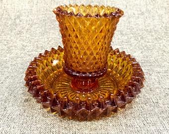 Mid-Century Amber Glass Votive