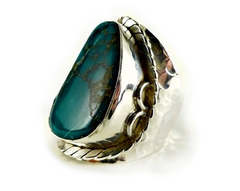Turquoise statement ring in sterling 925 silver size 9 / R 1/2