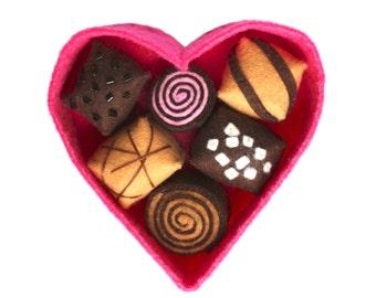 Felt Bonbons in a Heart Box-Felt Cakes-Play Food-Handmade Felt Food