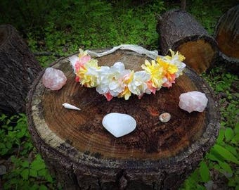 Adjustable White, Pink, and Yellow Flower Crown