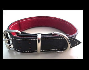 Black Leather Dog Collar with Soft Red Suede Inner Lining & White Thread