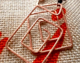 Hammered Copper Square Spiral Earrings
