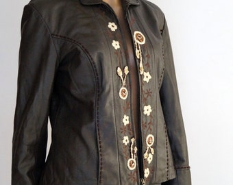 Leather Jacket Vintage Women's brown genuine leather jacket by CONBIPE Real leather jacket leather Blazer SIZE 42 EMBROIDERED leather jacket