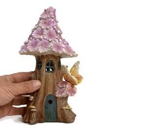Solar fairy house, fairy garden accessory, pink fairy houses, light up miniature house, outdoor fairy garden, enchanted gardens, fairy house