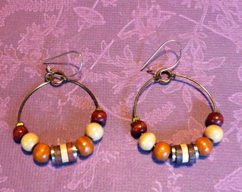 Vintage Wood Bead Hoop Earrings