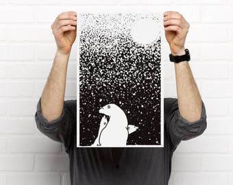 Digital art print of a polar bears on high quality paper, art print of white bears, polar bears art print, poster bear, poster polar bear