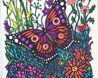 Butterfly Illustration-Original Mosaic Marker Drawing On Cartridge Paper-Size A3