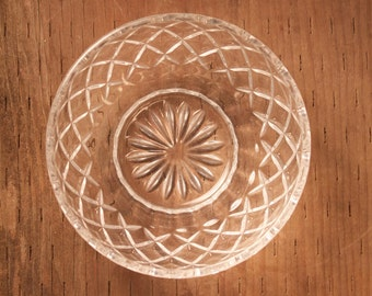 Small Glass Bowl with Diamond Pattern - Decorative Glass Bowl - Glass Candy Container