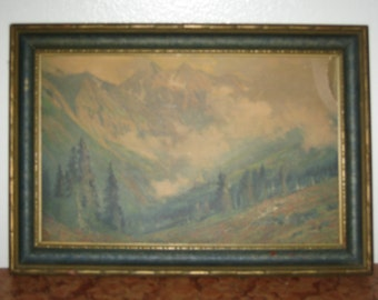 1930s ornate wooden picture frame landscape print after the storm 11 x 16 inches bv