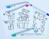 Marvel Winter Soldier Bucky Barnes Bucky Bear Postcard - VARIETY SET OF 3 - Hand Illustration Coloring Page Sheet - Valentine's Day Card