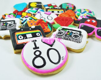 80's Themed Sugar Cookies - 80's party favors - 80's nostalgia - I love 80s - eighties - pac man - casette tape - boombox - neon glasses