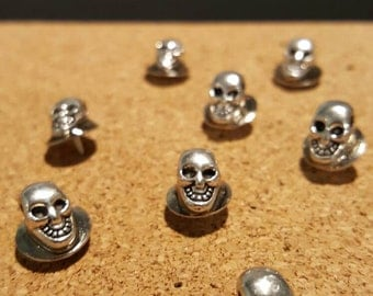8 silver skull push pin tacs for corkboard. Decorative office supplies. Gifts for men. Game of Thrones. O.25 inch skull pins. necklace. Xray