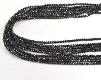 Natural Black Spinal Micro-Faceted Round Shaped Beads 3.5 MM