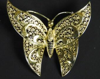 Vintage 1940s Willi Nonnenmann Germany Sterling Silver Art Deco Style Pin Brooch Lapel Jewelry Gold Filigree Butterfly