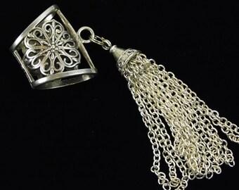 Silver Plated, Metal, Slide Pendant, Tassel, Ornate, Decorative, Jewelry Supply, Adornment, Embellishment, Purse Tassel, Necklace, 4 Inches
