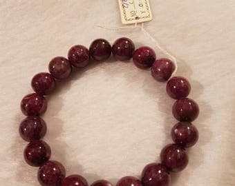 10mm Ruby zoisite Smooth beaded Bracelet, hand made bracelet, 8 Inch , top quality , Ruby zoisite bracelet