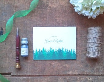 Evergreen Forest Personalized Folded Notes - Set of 10