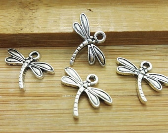 100pcs  Dragonfly Charms, Dragonfly Pendants , Antique Silver Charms ,  Wholesale charms , insect charms