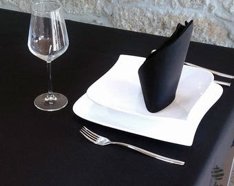 Luxury Black Plain Napkins - Anti Stain Proof Resistant - Pack of 6 units