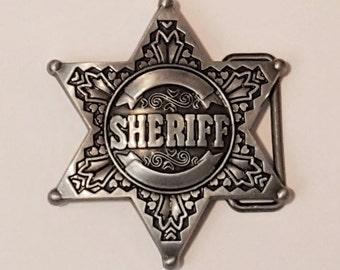 Sheriff's Badge Pewter Finish Belt Buckle