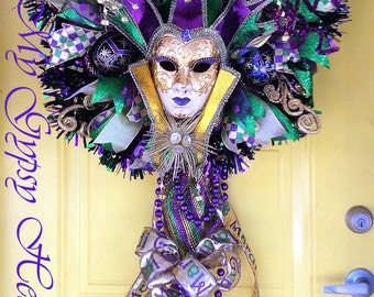 Mardi Gras Wreath, Fat Tuesday Wreath, Venetian Princess Jester Wreath, Mardi Gras Decor, Lady Jester Mardi Gras Wreath, Front Door Wreath