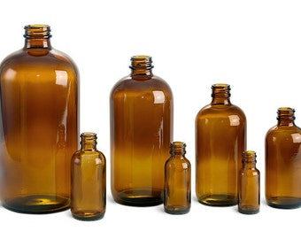 Amber Glass Round Bottles (Bulk), White Caps, 4 oz.