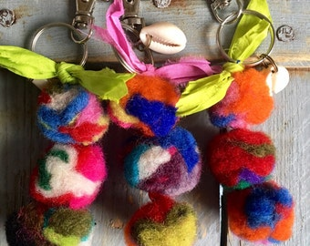 Key ring in boiled wool
