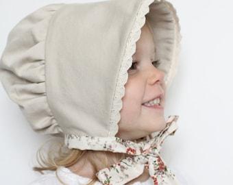 Brimmed Bonnet, Baby Bonnet, Baby Girl Hat, Baby Hat, Toddler Hat, Toddler Bonnet