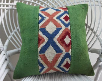 "kilim patchwork pillow cover turkish pillows green color 16""x16 pillow covers striped kilim pillow cover 16x16 geometric kilim pillow 2111"