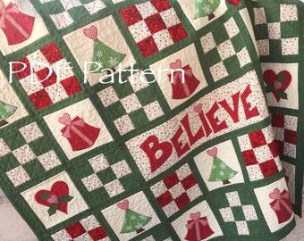Christmas Quilt Pattern - Believe in  Santa Christmas Quilt Pattern, Santa Christmas Quilt PDF Pattern