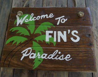 Custom paradise sign |  Palm tree sign | personalized Tropical  decor | Paradise sign | tropical wood sign