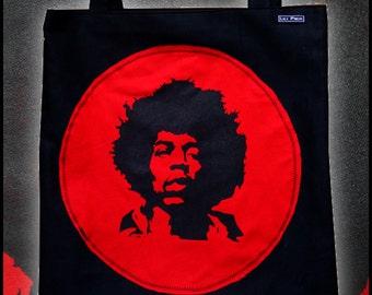 "bag tote bag handmade with stenciled ""Jimi Hendrix"""
