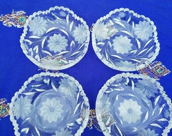 """4 5"""" Sawtooth Cut Crystal Frocted Bowls"""